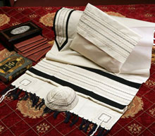 Soft Cotton Luxurious Tallit Set - Black & Beige Stripes