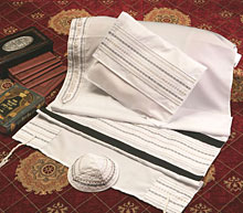 Soft Cotton Luxurious Tallit Set - White with Black design