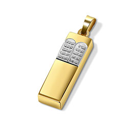 14K Mezuzah Pendant with 10 Commandments
