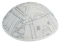 Hand Embroidered Kippot - Jerusalem silver
