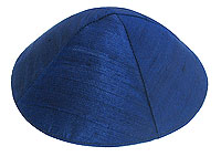 Raw Silk Kippot - Navy Blue