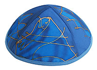Hand Painted Kippot - Tribes in Blue