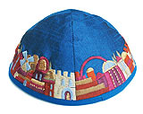 Machine Embroidered Kippot - Jerusalem on Blue