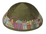 Elegant Embroidered Cotton Kippah - Jerusalem Gold/Green