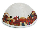 Machine Embroidered Kippot - Jerusalem on White