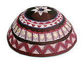 Machine Embroidered Kippot - Wine/Maroon
