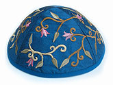 Elegant Embroidered Cotton Kippah - Flowers Blue