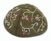 Elegant Embroidered Cotton Kippah - Gold/Green