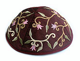 Elegant Embroidered Cotton Kippah - Maroon/Wine/Red