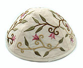 Machine Embroidered Kippot - Off White