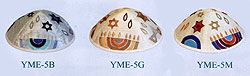 Machine Embroidered Kippah - Menorah