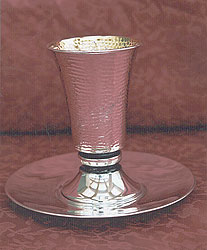 Sterling Silver Kiddush Cup Set - Hammered