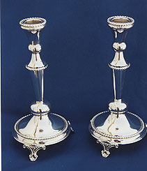 Sterling Silver Candlestick Set - Beaded