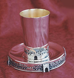 Sterling Silver Kiddush Cup Set - Jerusalem