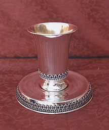 Sterling Silver Kiddush Cup Set - Filigrin