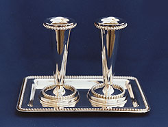 Sterling Silver Candlestick Set with Tray
