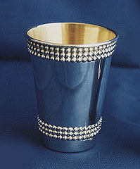 Sterling Silver Kiddush Cup - Beaded