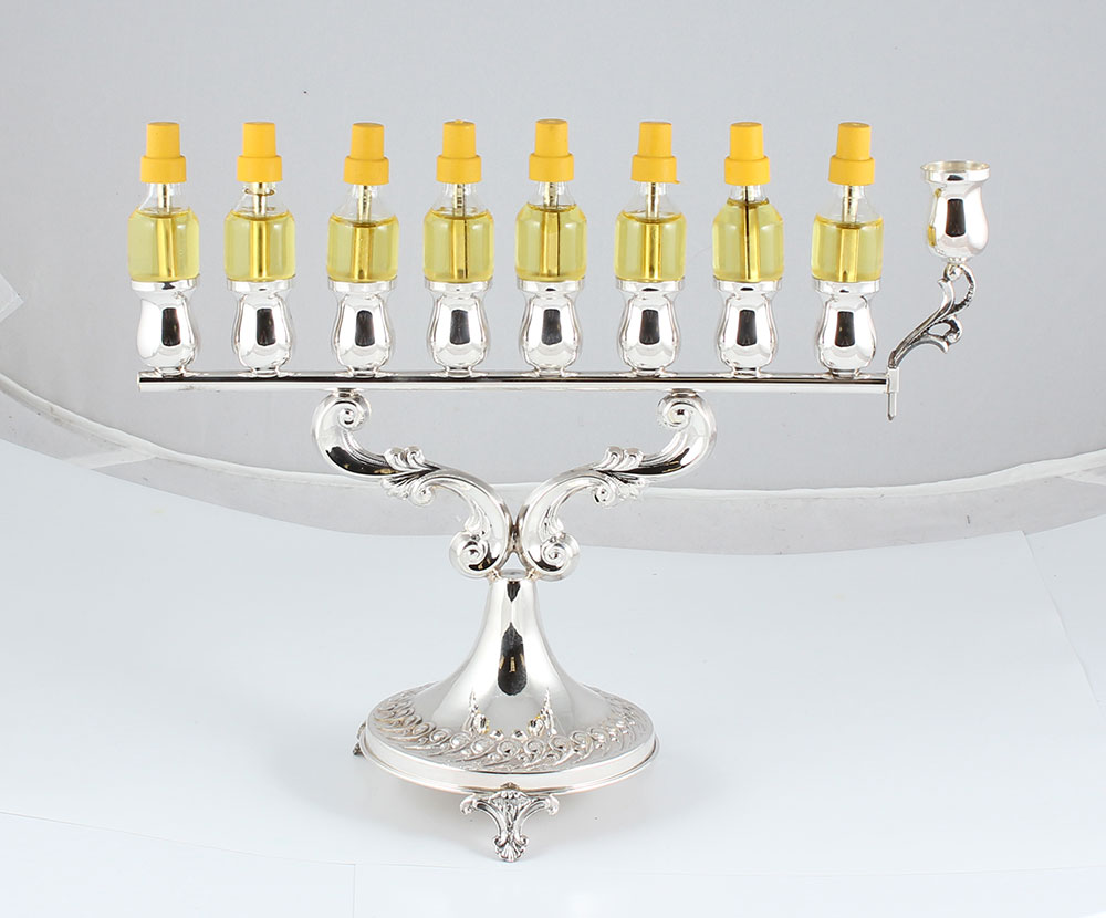 Silver Hanukkah Menorah For Special Display Of Ancient
