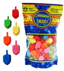 100 Medium Plastic Dreidels - ZipLock Bag