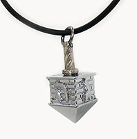 Silver Dreidel Necklace with Chain