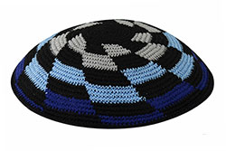 Personalized Knit Kippot - Shades of Blue