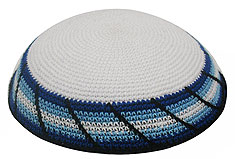 Personalized Knit Kippot - Fence/Israeli Colors