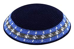 Custom Knit Kippot - Blue with Olive Green