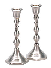 Pewter Candlestick Set - 7'' Tall