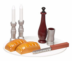 Large Wooden Shabbat Toy Set - Colored