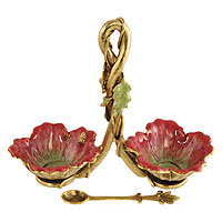 Double Floral Salt Dish - Magenta / Gold