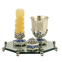 Stunning Ornate Havdallah Set - Blue/Silver