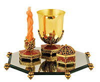 Stunning Ornate Havdallah Set - Terracota/Gold
