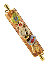 Decorated Pewter Mezuzah Cover - Kitchen
