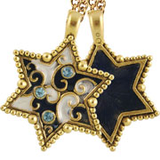 Jeweled 2-Sided Star of David Necklace