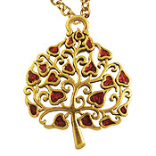Jeweled Tree of Life Necklace - Hearts