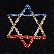 Crystal Star of David Pin
