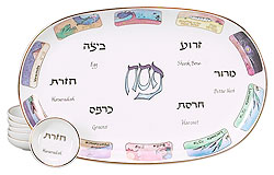 Porcelain Seder Plate - Illustrated 10 Plagues