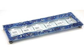 Fused Glass Rectangle Seder Set - Marbled Blue