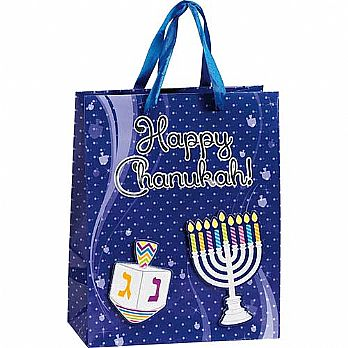 Hanukkah Gift Bags Embossed with Fabric Handles - Medium