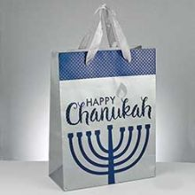 Hanukkah Gift Bags Embossed with Fabric Handles - Large