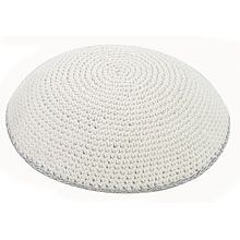 Classic White Knit Kippah with Fine Silver Line