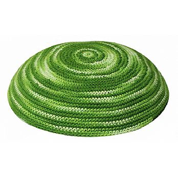 Hand Knit Green Kippah - Swirl Design
