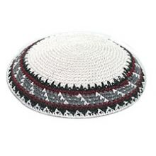 Bulk Knit Kippot - Black/Grey/Burgandy