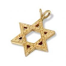 14K Gold Star of David Pendant - Large Extra-Thick