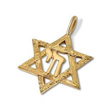 14K Gold Star of David & Chai Pendant