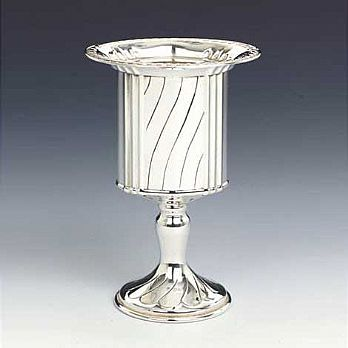 Sterling Silver Havdallah Candle Holder - Stripes