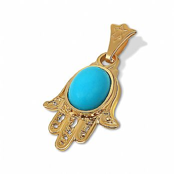 14K Gold Hamsa Pendant with Turquoise