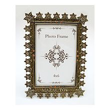 Jeweled Gold/Amber Star of David Mazel Tov Frame