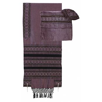 Elegant Light Wool Tallit Set  - Antique Purple