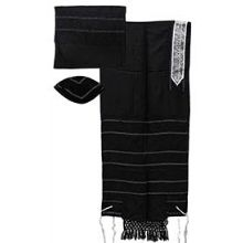 Elegant Light Wool Tallit Set  - Dark Grey/Black